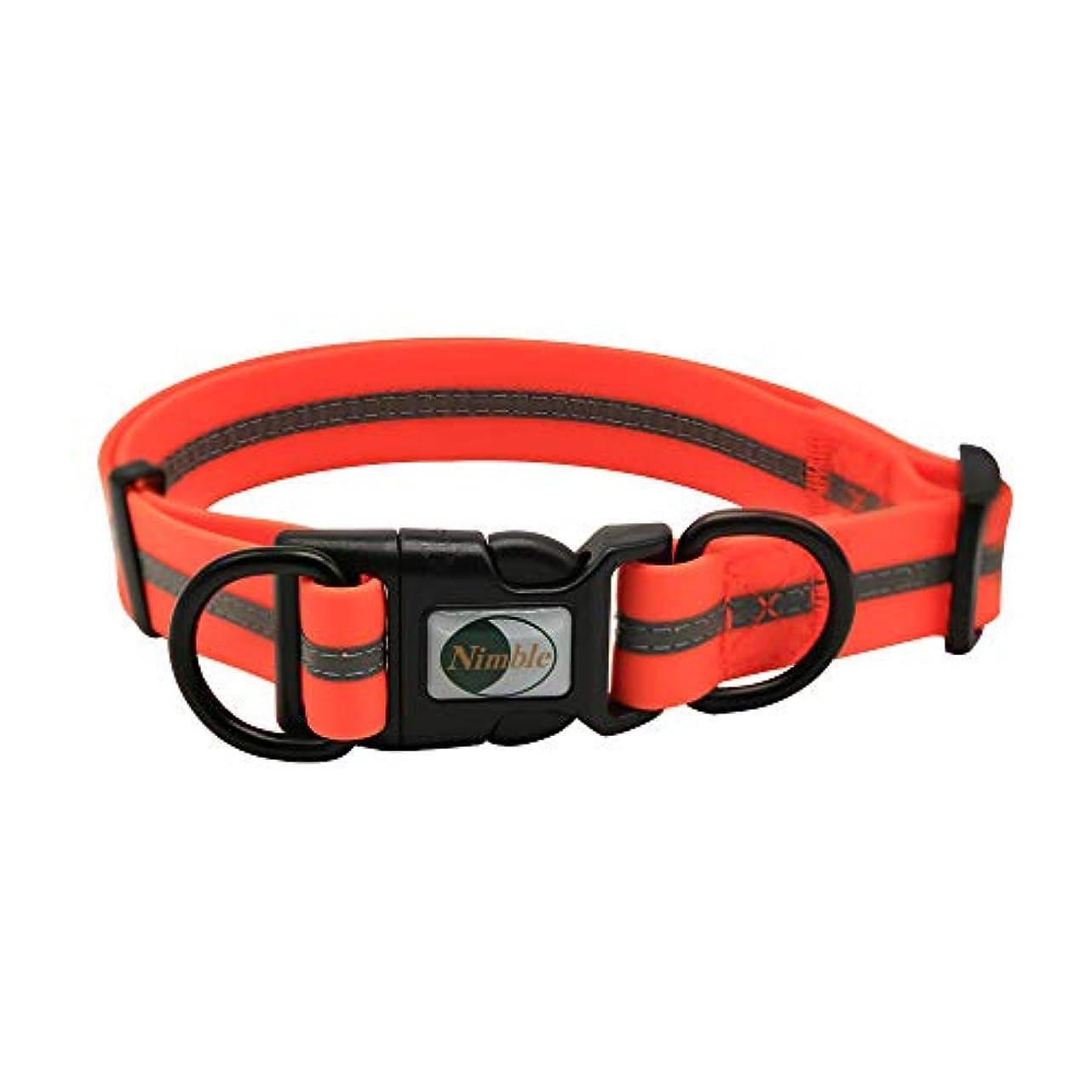 明らかに対角線社会学Nimble 犬 首輪 犬の首輪 夜の反射 抗菌 防水 調節可能 ベルト首輪 小型、中型、大型犬対応 (M, オレンジ)