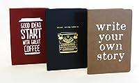 3パックジャーナルセット。PUレザーBoundハードカバーカレッジルールドノートブック。
