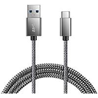 Type CケーブルJR INTL USB-C to USB3.0 ケーブル 高耐久ナイロン編み 高速データ転送対応 新しいMacBook Pro/Galaxy S9、S8+、note 8 /huawei P10/Nintendo Switch/Xperia XZ/MacBook/Nexus 5X / ChromeBook Pixel usbタイプC機器対応 (3m グレー)