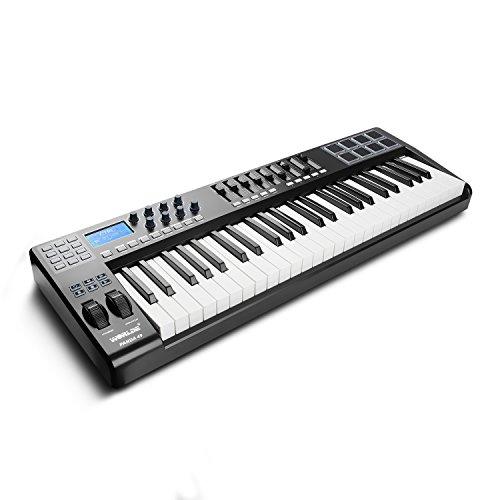 Worlde MIDIコントローラー 49鍵 USBキーボード 8パッド 9フェーダー 8ノブ PANDA49 MINI USB MIDI Keyboard Controller