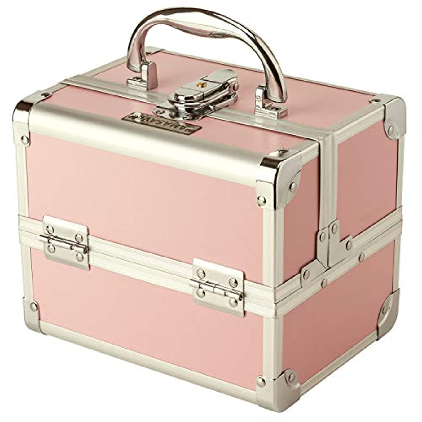 物理的にフェザー部族Amasava メイクボックス 鏡付き コスメボックス プロ用 収納ボックス 化粧品 ジュエリー ネイルカラー メイク道具入れ 鍵付き コンパクト ピンク