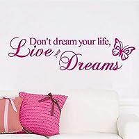 Lcymt 59×15センチライブあなたの夢ウォールステッカー蝶壁の壁画リビングルーム装飾家の装飾DiyビニールステッカーC