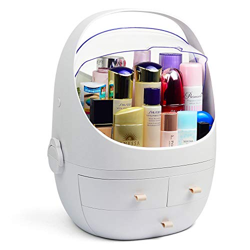 HAREAO 化粧品収納ボックス メイクケース 防塵 防水 大容量 蓋付き スキンケア用品 ジュエリーケース 小物入れ 引き出し式 卓上収納 寝室 浴室 洗面所 家庭用 (XLサイズ:40*30*27cm 二つに分ける)