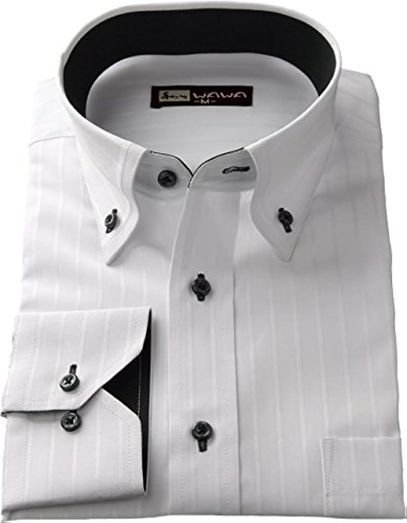 クラッシュつぼみタヒチ(ワワジャパン)WAWAJAPAN メンズ長袖ワイシャツ スリムタイプ ボタンダウン WA-717 サイズ:M80