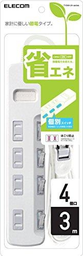 ELECOM 電源タップ 個別スイッチ 省エネ ほこり防止シャッター付き スイングプラグ 4個口 3m ホワイト T-E6A-2430WH