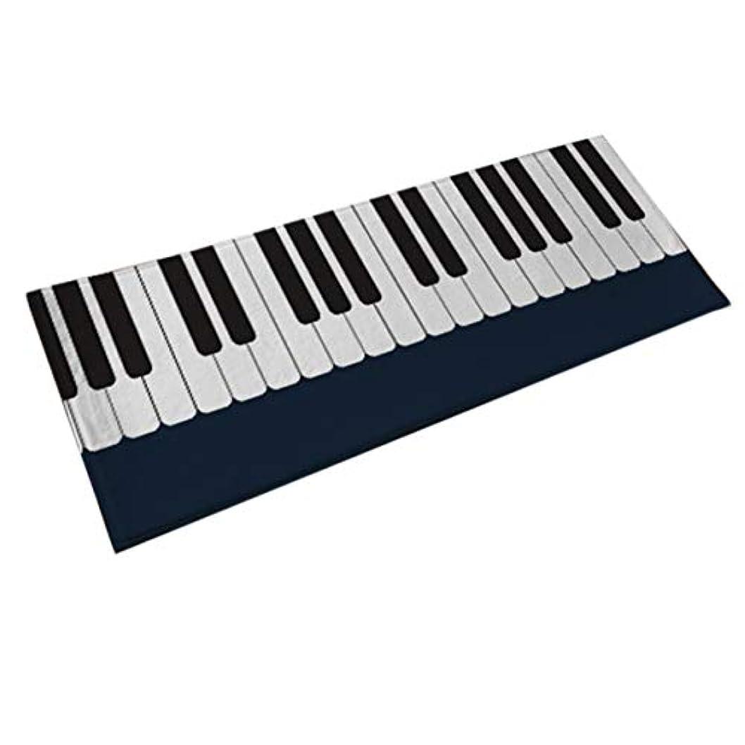 彼マット注釈Saikogoods 絶妙な手作りのラッピングでパーソナリティピアノ?カーペットベッドルームベッドサイドリビングルームモノクロピアノ子供パッドラグ 黒 白 40×100CM