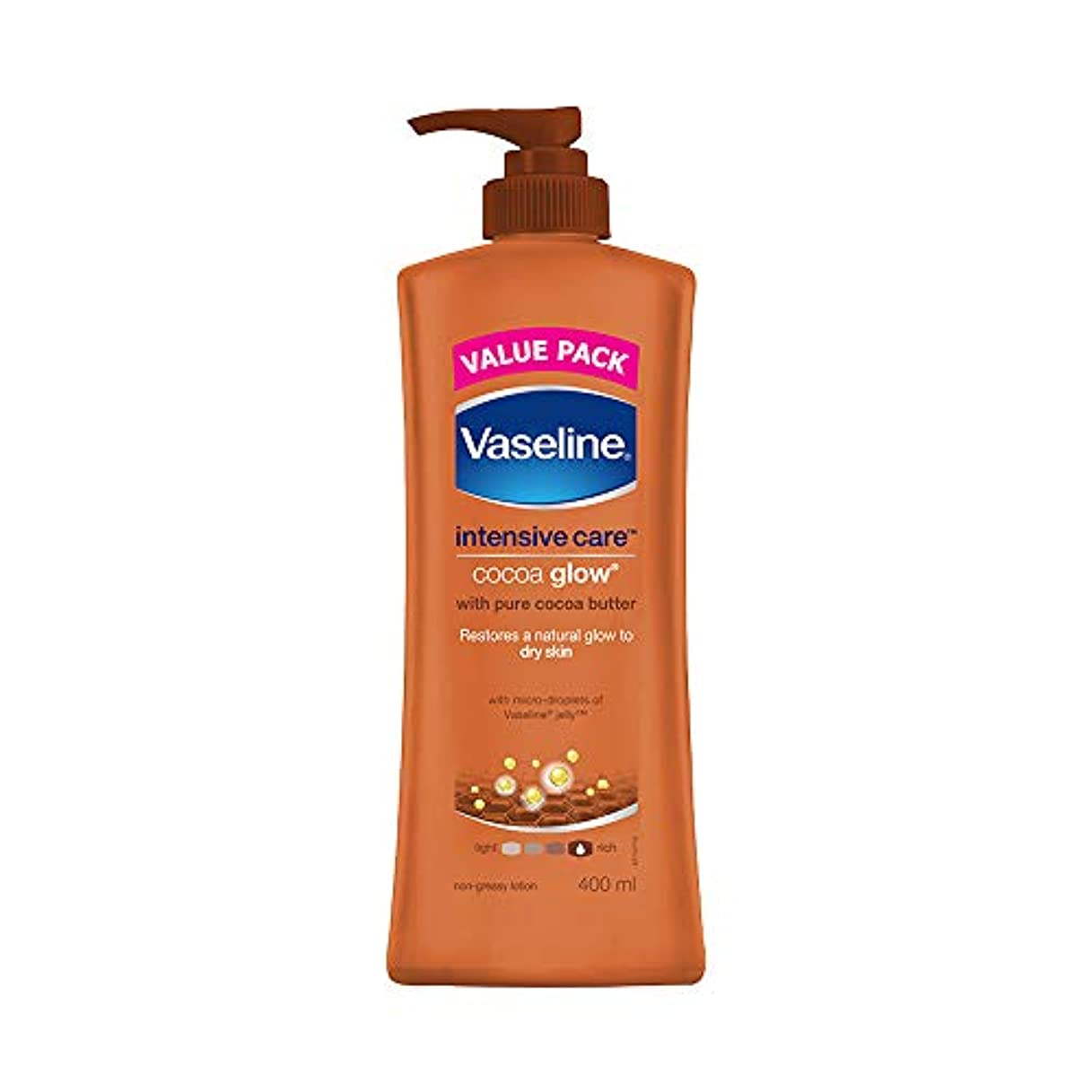 調停する魅力的オアシスVaseline Intensive Care Cocoa Glow Body Lotion, 400 ml