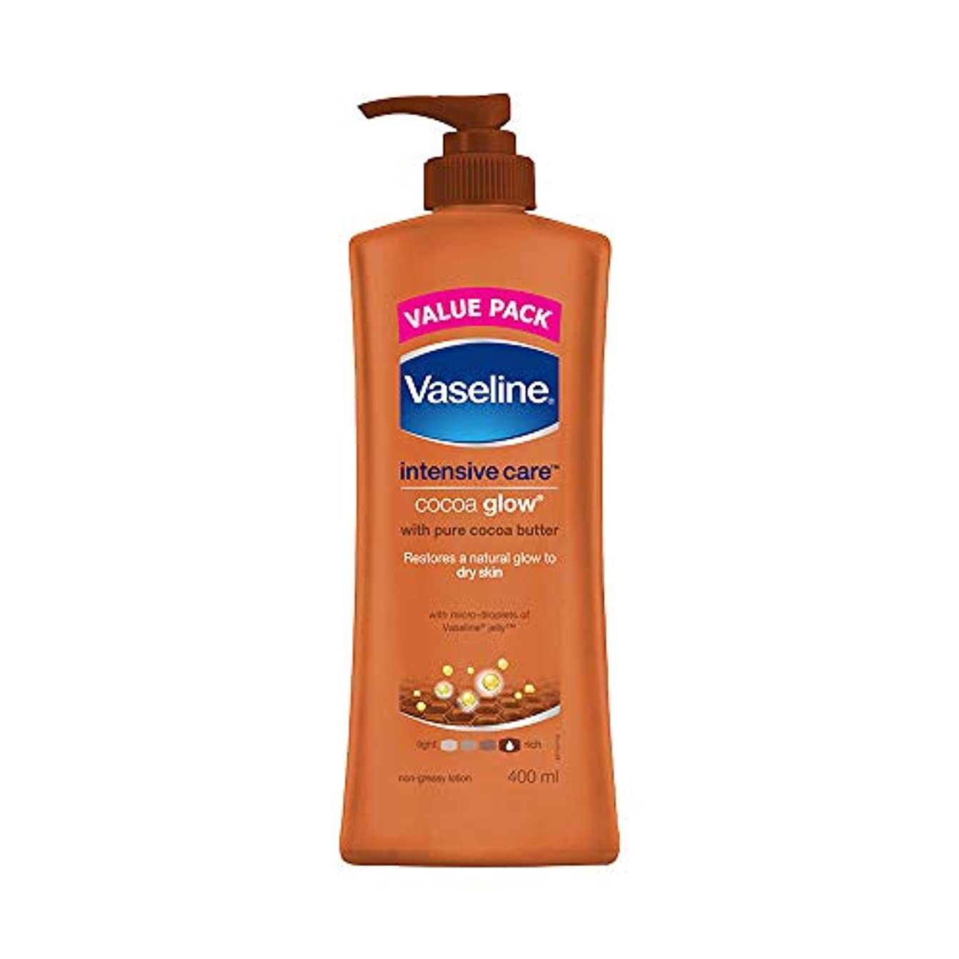 挑発するクリア経過Vaseline Intensive Care Cocoa Glow Body Lotion, 400 ml
