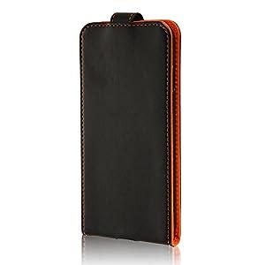 レイ・アウト iPhone7 ケース フラップケース(縦開き) スナップボタン (カード収納×1 /縦型 /Dリング) ブラック/オレンジ RT-P12LC1/B