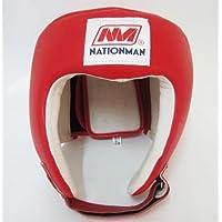 Muay Thai Kickレッドボクシングヘッドガード本革レッドとブルー