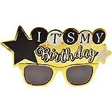 BESTOYARD 面白い誕生日パーティーメガネ子供のためのクリエイティブプロップサングラス大人の誕生日パーティーの好意(金色)