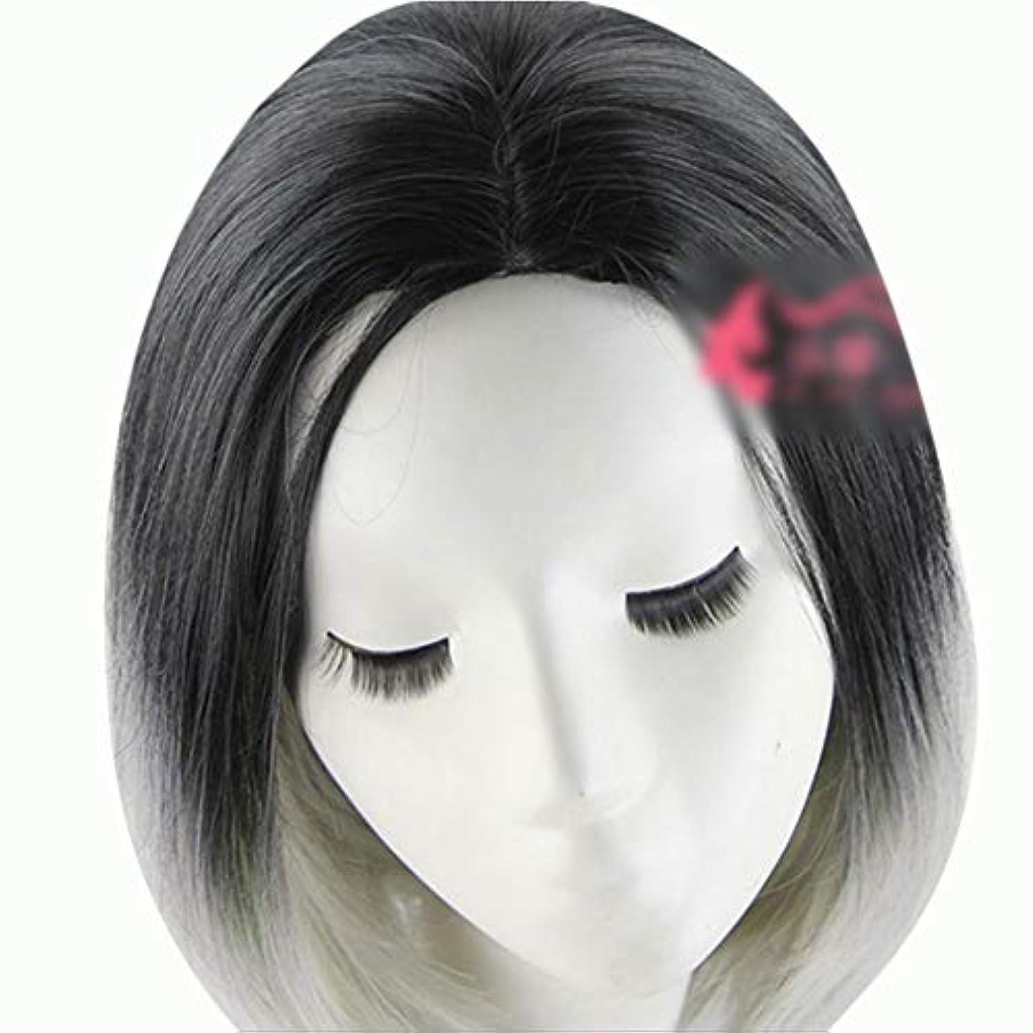 バングラデシュアソシエイトビームWASAIO 人工毛髪グレーダークショートボブヘアウィッグ36cm (色 : グレー)