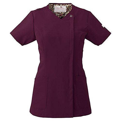 (FOLK) フォーク ワコール レディスジップスクラブ 女性用 診察衣 白衣 (HI704) バーガンディ S