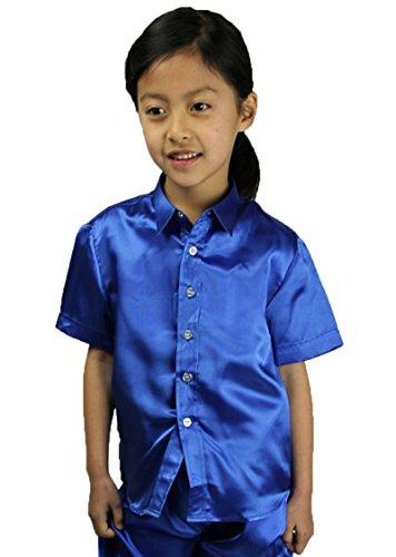 サテンシャツ 半袖 子供 キッズ 4色 ワイシャツ ドレスシ...