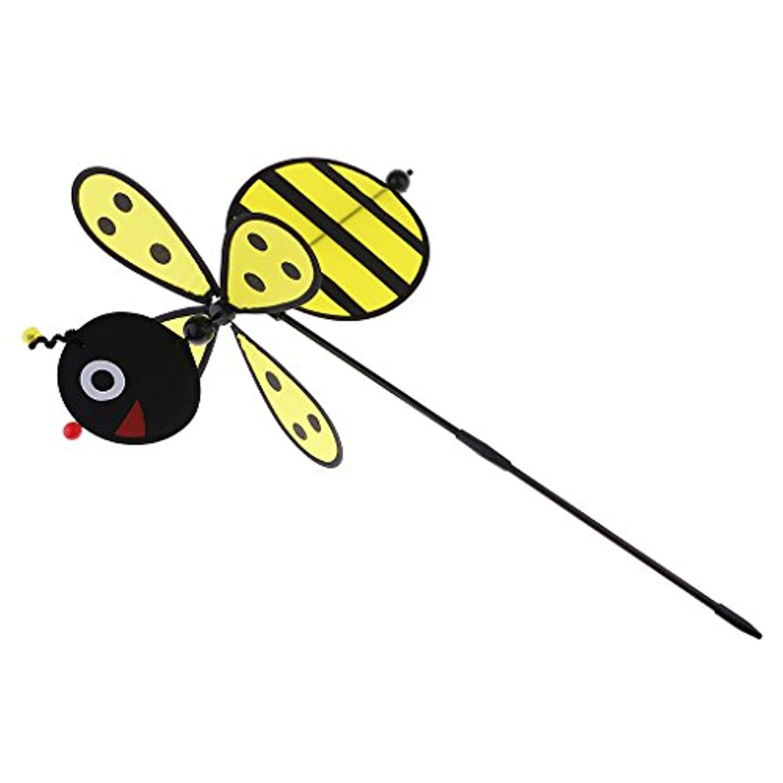 Dovewill DIY風車 おもちゃ 軽量 庭 ガーデン 装飾 光沢 イエロー 蜂風車 3D