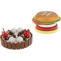 Baosity キッズ 食べ物 磁気誕生日ケーキ&ハンバーガー 木製のおもちゃ 分解容易 ケーキモデル 子供のため 絶妙デザイン