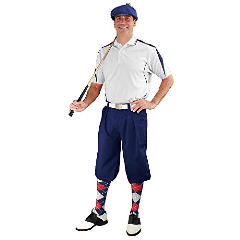 メンズゴルフOutfit – ネイビー、ホワイト、&レッドゴルフKnicker Complete Outfit