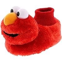 Sesame Street Elmo Little Kids Sock Top Slippers (5-6 M US Toddler Laugh Red)