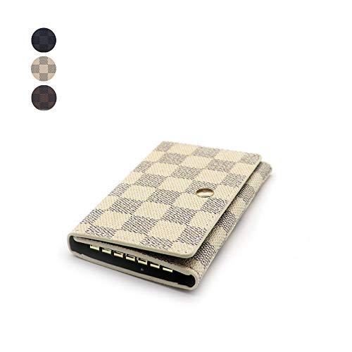 Dimon-M キーケース キーホルダー 高級レザー 男女兼用 レディース メンズ 6連 レザー チェック柄 グリッド柄 格子柄 柔らかい素材 ボタン式 人気 かわいい 2枚カード入れ ホワイト