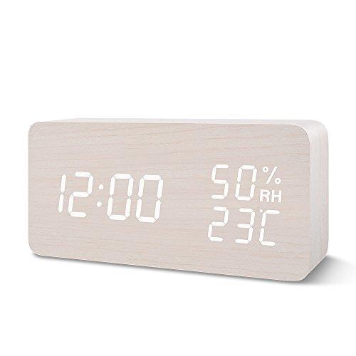 目覚まし時計 置き時計 Suncree デジタル LED表示 大音量 温湿度計 カレンダー アラーム3つ 振動/音感センサー 輝度調節 設定記憶 USB給電 木製 おしゃれ プレゼント(白・白字)