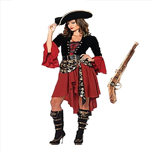 【ELEEJE】ハロウィン 大人用 海賊 コスチューム & 海賊銃 アイテム (M, レディース2)