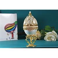 ワイングラス 女の子のためのオルゴールイースターエッグ卵殻オルゴール ホワイトパールのハートJewerlyボックス