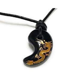 勾玉 ネックレス 龍彫り オニキス (金) 1点