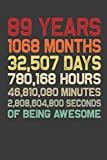 89 Years Of Being Awesome: Wide Ruled 6x9 Inch 110 Pages Composition Notebook Journal for Men &Women - Unique Birthday Gift Idea for 89 Years Old Grandma, Grandpa, Mom, Dad, Wife, Husband on 89th Bday for Writing Notes, To-Do List &Notes Creative Ideas