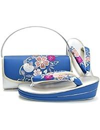 [ 京都きもの町 ] 振袖 草履バッグセット ブルー 雪輪に橘 枝垂れ桜の刺繍 L 二枚芯