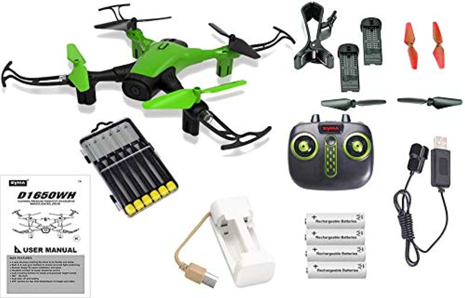 Green Sky Phantom WiFi FPV Drone with HD Camera Live Feed 2.4GHz 4CH Bundle with Must Have Accessories - 23pcs Set