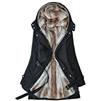 Winter Coats for Women Hooded, Faux Fur Lined Parka MD-Long Belted Jackets 3 Colors Size S-3XL