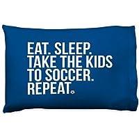 ChalkTalkSPORTSサッカー枕カバー| Eat Sleep Take the Kids to Soccer ブルー sc-03116-NAVY