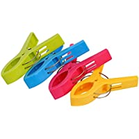 プラスチックビーチタオルクリップクランプClothespins – 明るい色Lタオルclips- Keep YourタオルからBlowing Away (4パック)