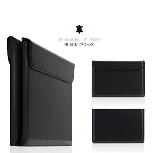 <国内正規品>【MacBook Pro 15インチ】 天然牛革 ポーチ 軽量でシンプルな級素材使用した専用ポーチ (SD11538(ブラック))