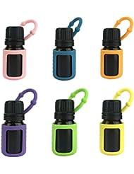 Lurrose エッセンシャルオイルシリコンスリーブオイルボトル保護ケースアロマテラピーアクセサリー5ML 6pcs(ランダムカラー)