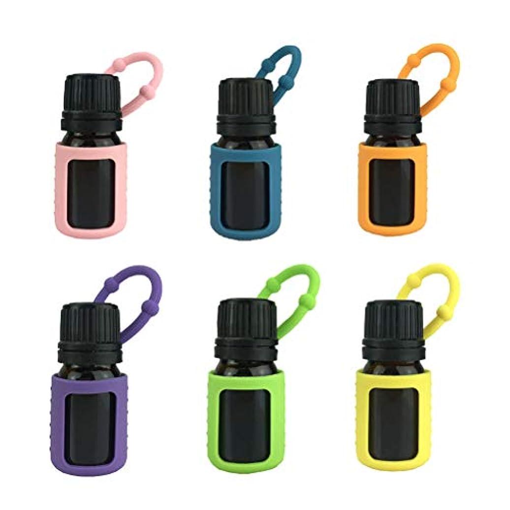 バケツ主権者甘味Lurrose エッセンシャルオイルシリコンスリーブオイルボトル保護ケースアロマテラピーアクセサリー5ML 6pcs(ランダムカラー)