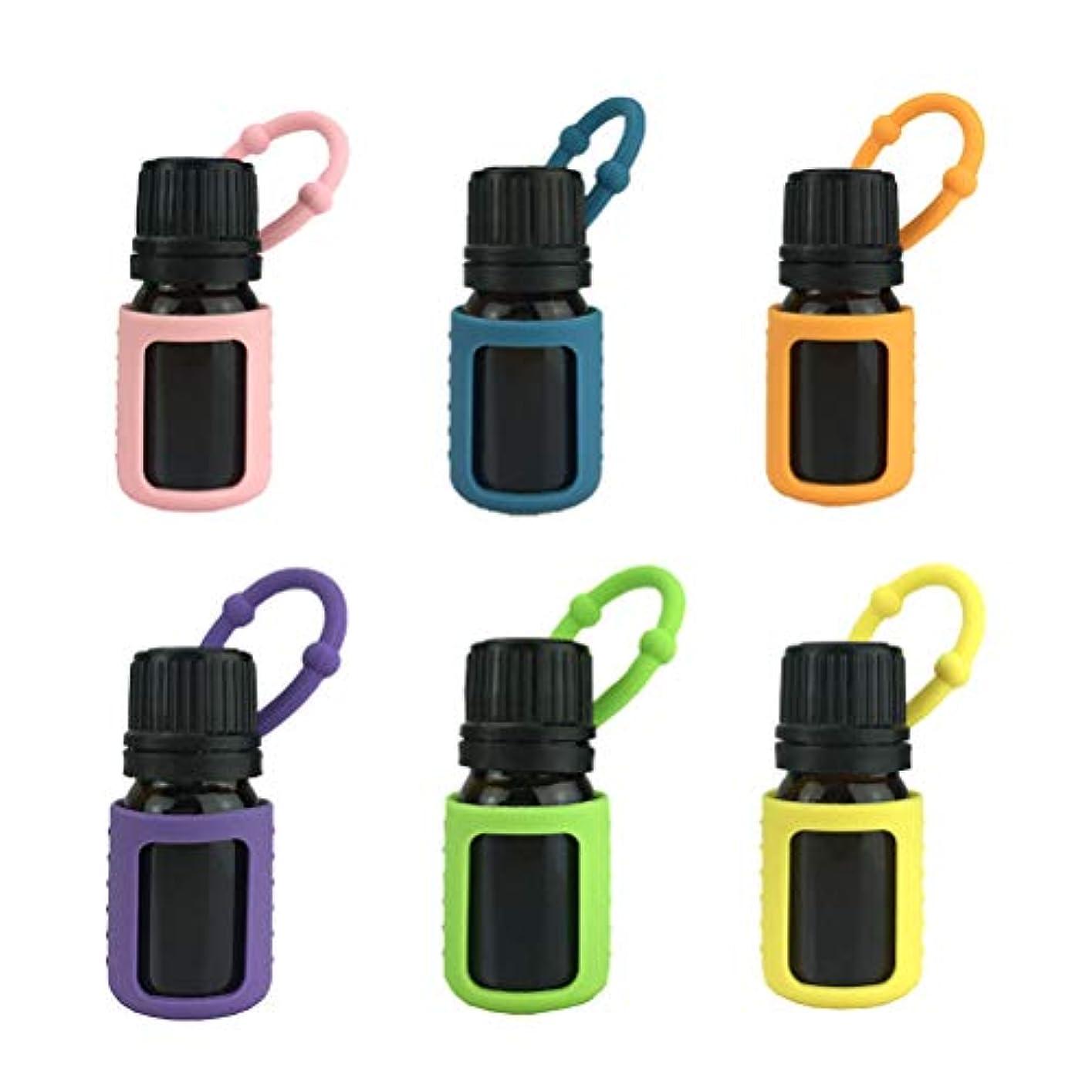 一過性他に賞賛Lurrose エッセンシャルオイルシリコンスリーブオイルボトル保護ケースアロマテラピーアクセサリー5ML 6pcs(ランダムカラー)