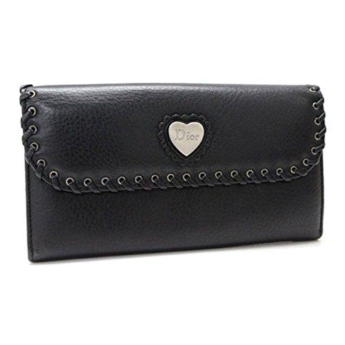 (クリスチャン・ディオール) Christian Dior エスニック 2つ折り長財布 レザー ブラック [中古]