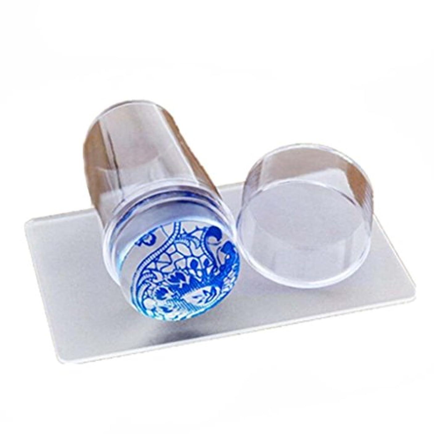 ビーズ社説杖SODIAL DIYネイルアートスタンプスクレーパー イメージプレートマニキュア印刷ツール 透明