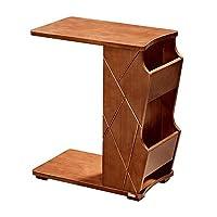 ベッドサイドデスク、ソファサイドテーブルリビングルームコーヒーテーブル木製マガジンストレージシェルフ