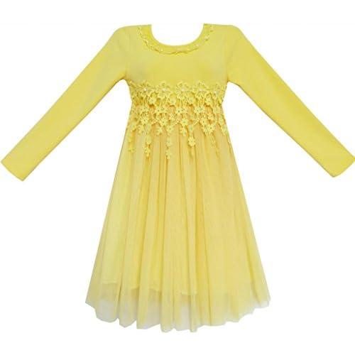 FE43 こどもドレス キッズドレス 結婚式 発表会 レース チュール 黄色 誕生日 125cm
