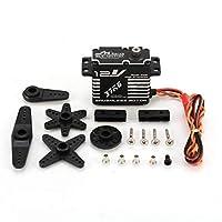 JX BLS-12V7137 37KGメタルステアリングデジタルギアRCカーロボットドローン用12V HV高トルク電圧のブラシレスサーボDIY(色:黒)