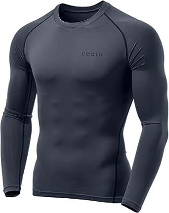 (テスラ)TESLA オールシーズンラウンドネック スポーツシャツ [UVカット・吸汗速乾] コンプレッションウェア パワーストレッチ アンダーウェア MUD01-CHC_2XL