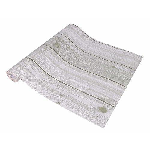WIBERTA 壁紙シール ウォールステッカー 木目調 はがせるタイプ 45cm×10m ホワイト スクレーパー 貼り方説明書付き