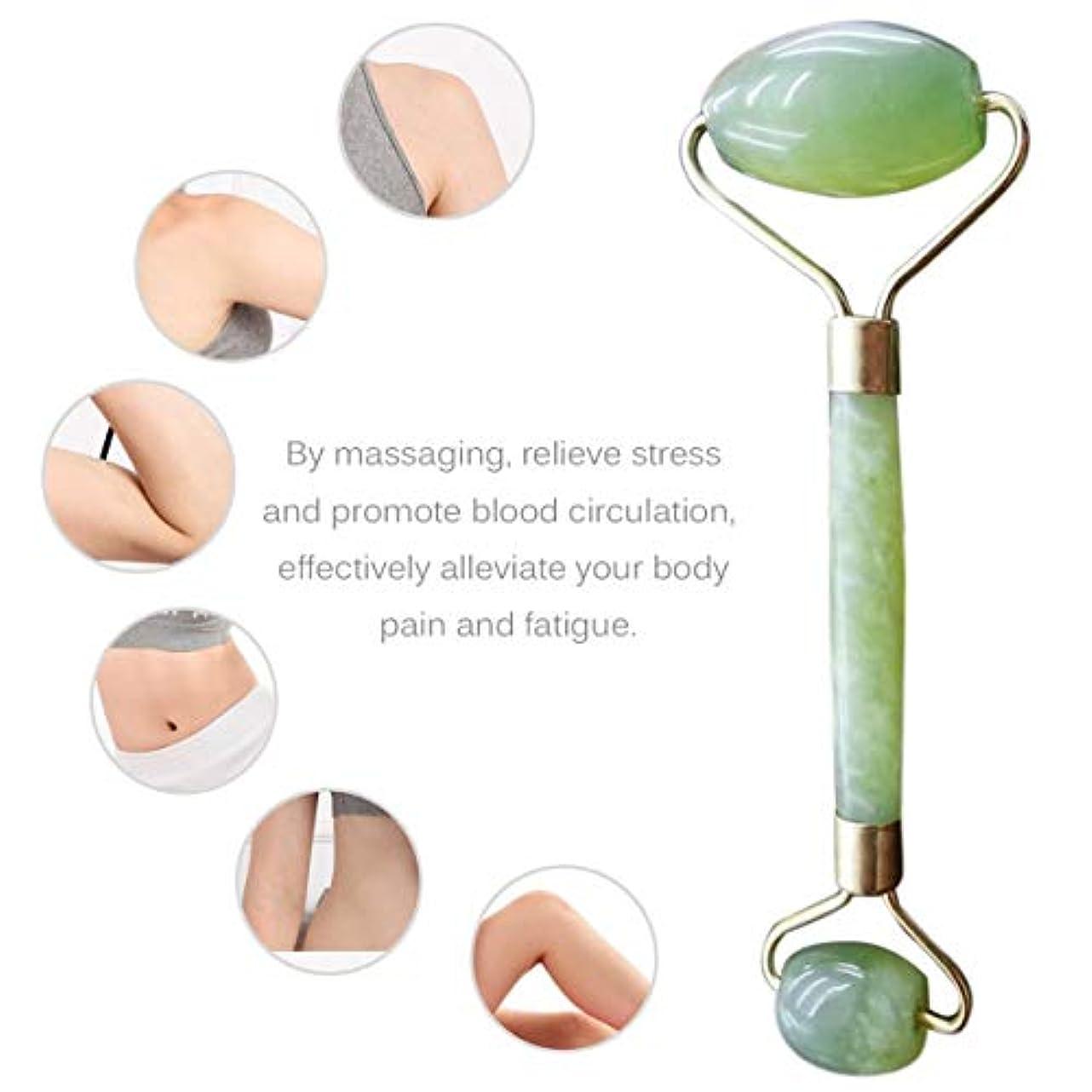 吹きさらしなだめる欺くDouble Heads Natural Jade Face Care Massager Handheld Anti Wrinkle Healthy Face Body Foot Massage Tools Best Gift