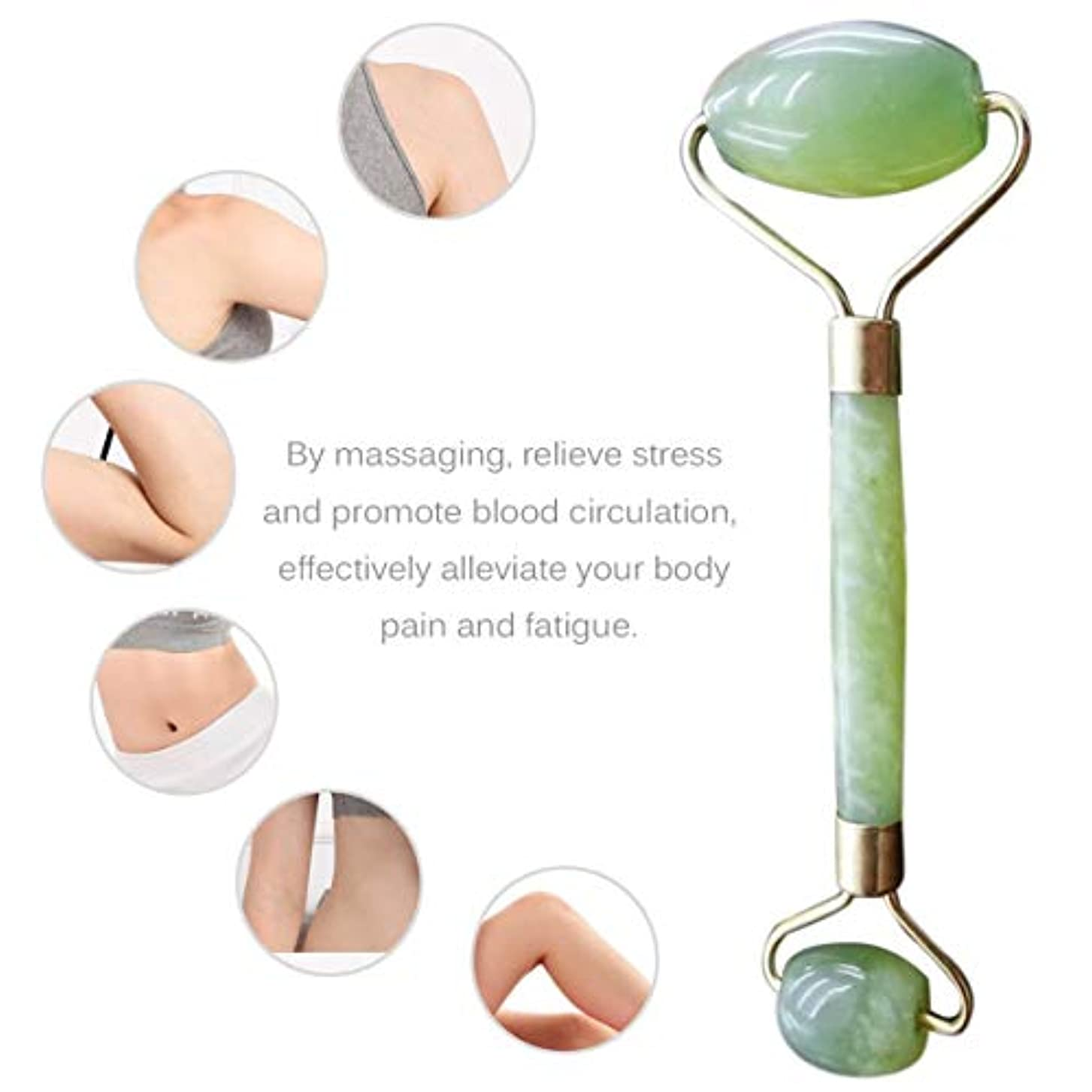 拒絶寛大さ物足りないDouble Heads Natural Jade Face Care Massager Handheld Anti Wrinkle Healthy Face Body Foot Massage Tools Best Gift