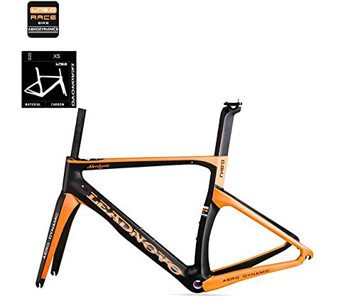 T800カーボン ロードバイク フレームセット サイクリングフレームLN8 (ブラック・オレンジ, XS)