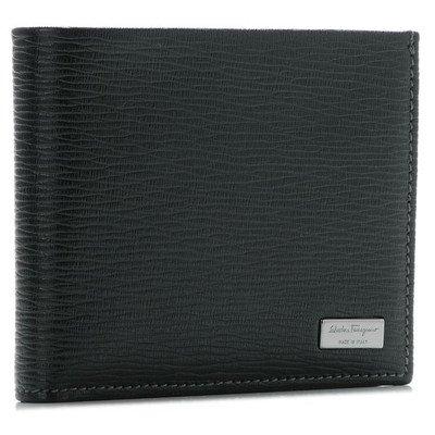 Salvatore Ferragamo(サルヴァトーレ フェラガモ) メンズ リバイバル 型押しカーフスキン 2つ折り財布 ブラック 667070-0007-0010 [並行輸入品]