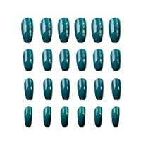 Tichan 24ピース長い偽爪、単色偽爪指美容ネイルアートDIYの装飾女性
