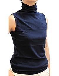 綿 無地 ストレッチ UV対策 紫外線カット タートルネック ノースリーブ カットソー